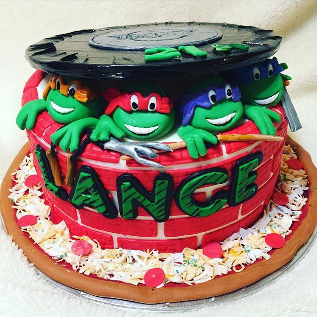 1 tier Ninja Turtle Cake. Www.Specialtysweetc