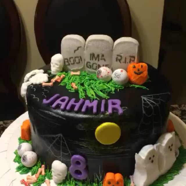 Instagram - 1 tiered Halloween Birthday Cake