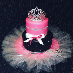 Pink and black to tear princess tutu cake.  Www.Specialtysweetc