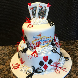 Las Vegas themed wedding cake. Www.Specialtysweetc