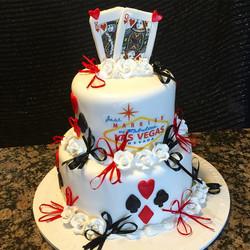 Las Vegas themed wedding cake. Www.Specialtysweetc