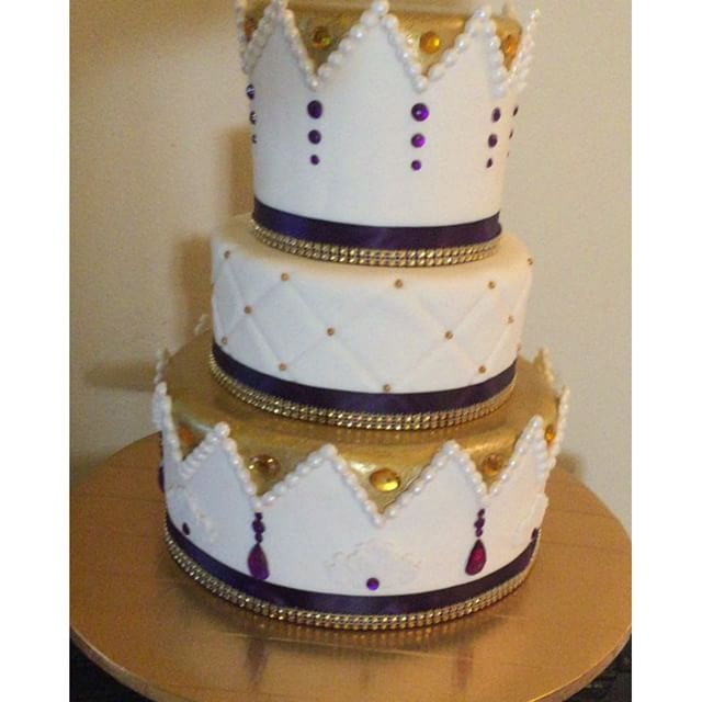 Instagram - Three tiered white purple and gold royal cake. Www.Specialtysweetc