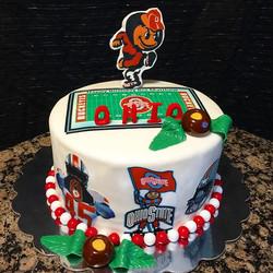 One tier Ohio State Buckeye cake