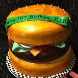 Giant Cheeseburger Cake. All Cake All Edible Works of Art. www.specialtysweetc
