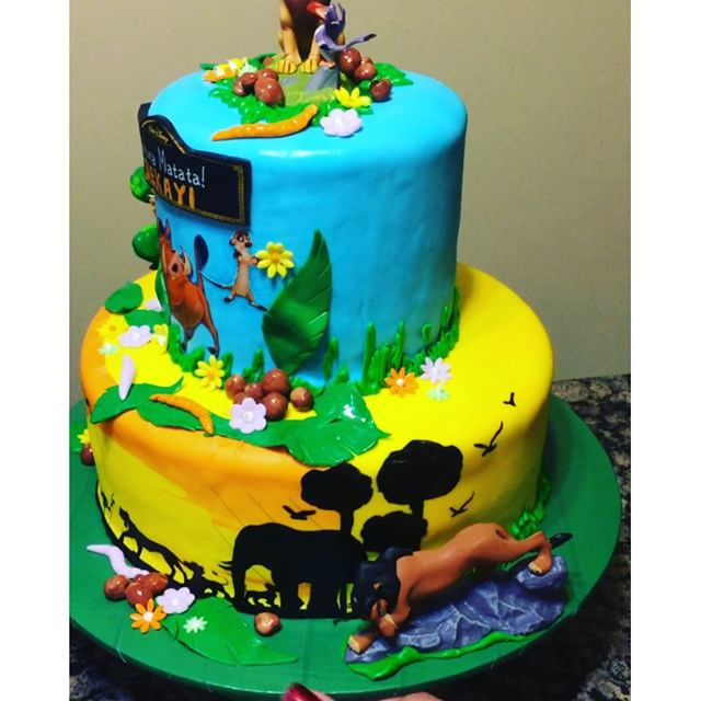 Instagram - The Lion King 2 tiered cake. Www.Specialtysweetc