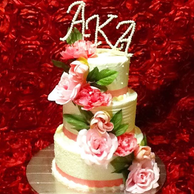 Instagram - 3 tiered AKA Sorority Pink, Green and Pearls. Www.Specialtysweetc
