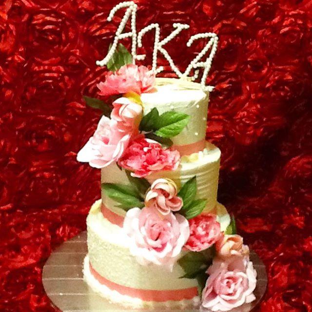 Instagram - 3 tiered AKA Sorority Pink, Green and Pearls. Www.Specialtysweetc