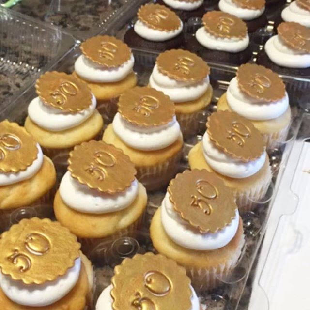 50th medallion cupcakes. Www.Specialtysweetc