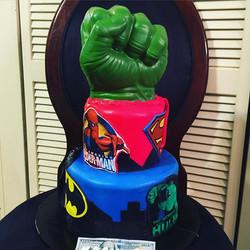 Instagram - 2 tiered Incredible Hulk Super Hero Cake. Www.Specialtysweetc