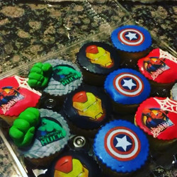 Avengers designed cupcakes. All Cake All Edible Works of Art. www.specialtysweetc