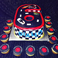 Hot Wheels #6 track cake with matching tire cupcakes