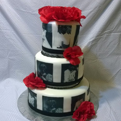 Instagram - 3 tiered black and white photos cake. Www.specialtysweetc
