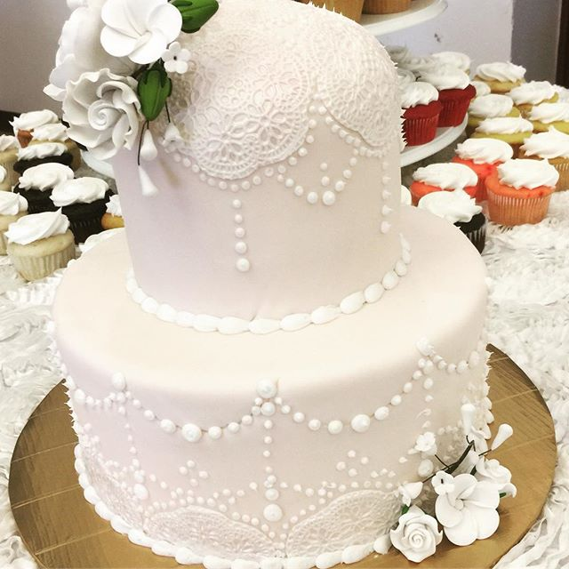 2 tiered fondant lace wedding cake. Www.Specialtysweetc