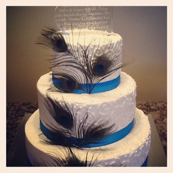 Peacock 3 tiered cake