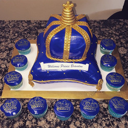 Instagram - Royal blue and gold Pillow crown cake and matching cupcakes. Www.specialtysweetc