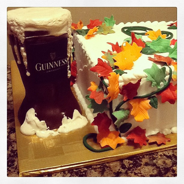 Guinness beer made of rice cereal treats and a fall wedding cake.jpg 614-218-7612