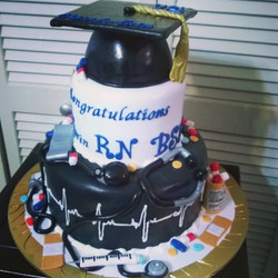 2 tiered RN Grad Cake. Www.specialtysweetcreations.vpweb