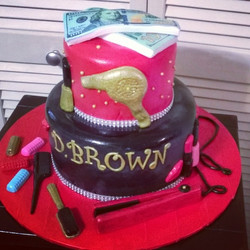 2 tiered Hairdresser cake with money. Www.specialtysweetcreations.vpweb