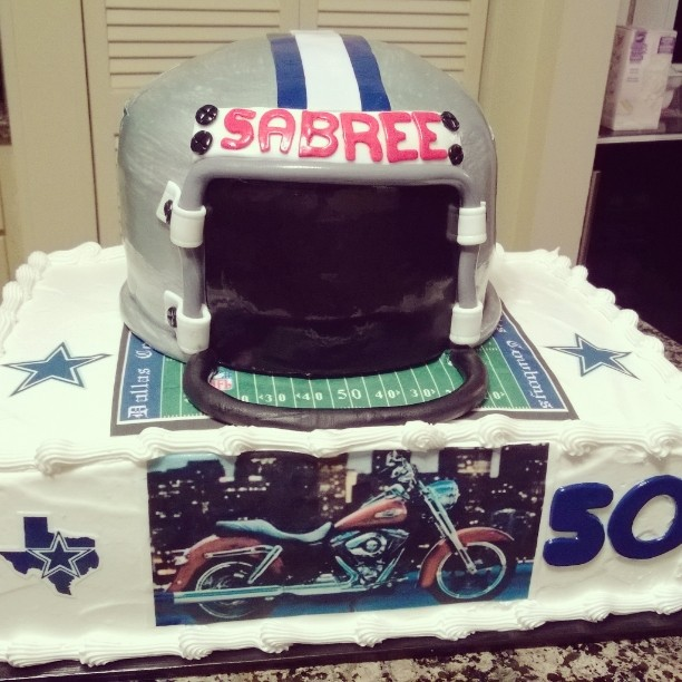 Dallas helmet and sheet cake  specialtysweetc_gmail