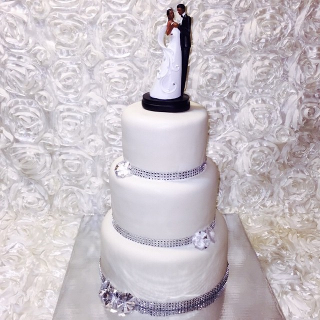 3 tier White Diamond Wedding Cake