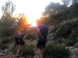 Costumers in afternoon trail running