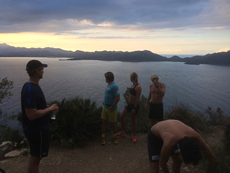 Trail runining seing the sunset in Alcudia