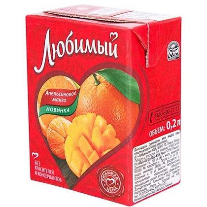Напиток сокосодержащий Любимый апельсин-манго-мандарин с мякотью 200 мл