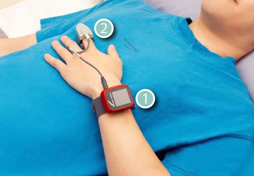 【SleepKinwood 健和醫療 - 呼吸機血氧測試】測試期間佩戴的血氧監測儀