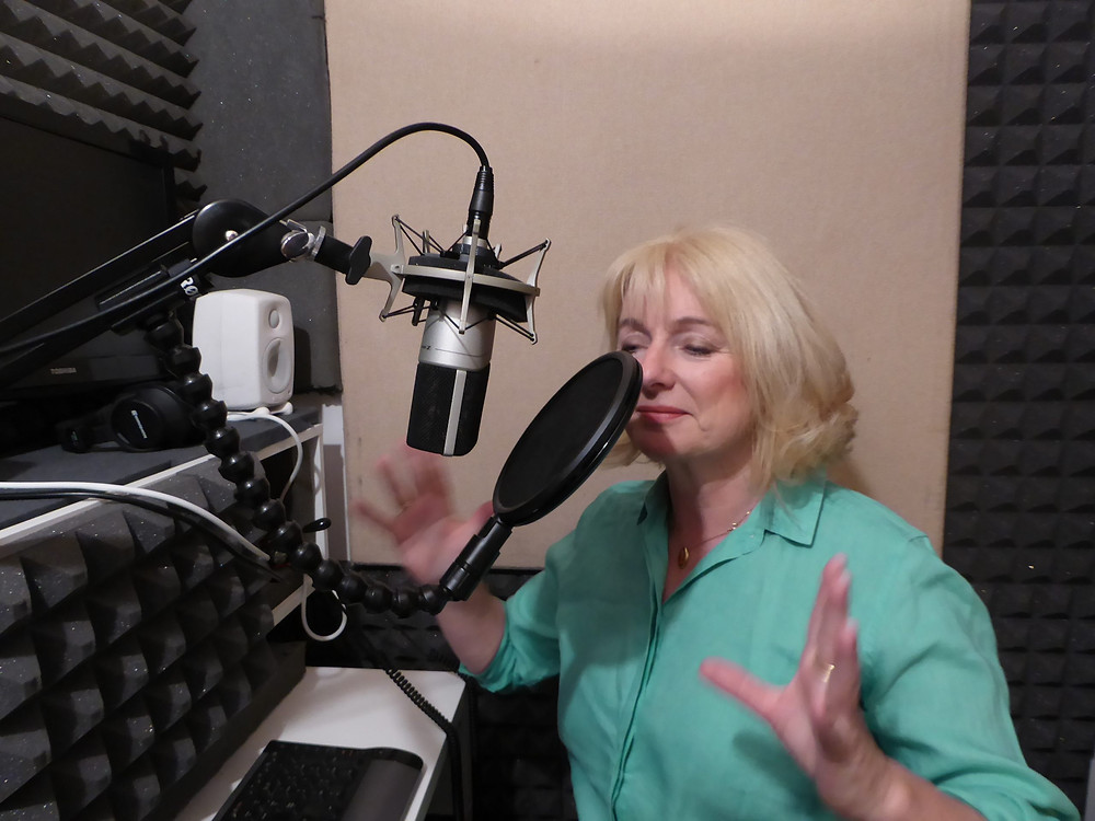 Moira in her broadcast quality recording studio