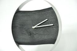 Zegar Loft - dębowy PALONY