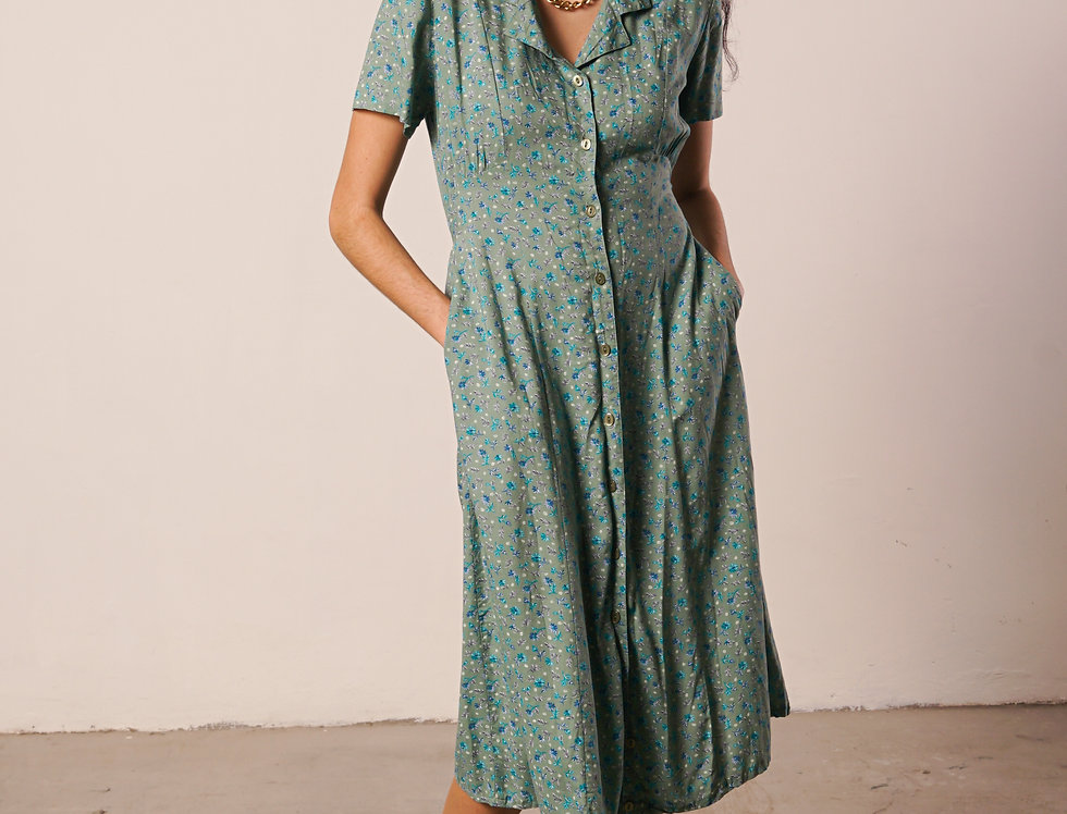 Pale green floral dress