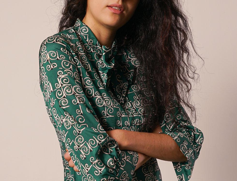 Green silky dress bow tie collar