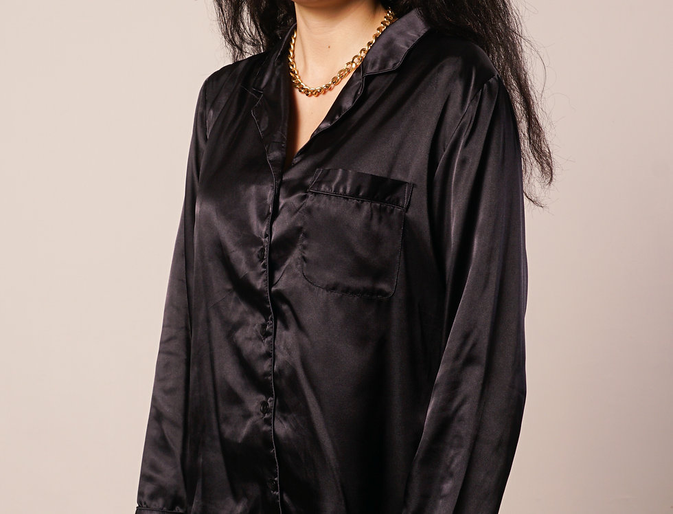 Black silk pyjama shirt