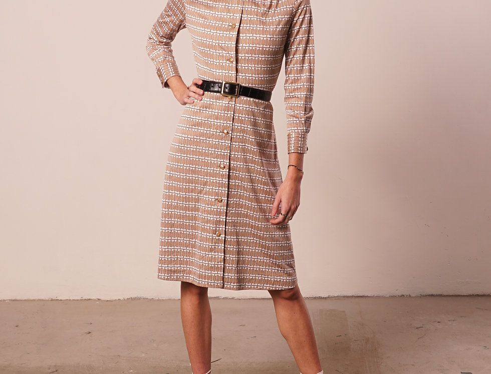 Beige and white 70's pattern dress