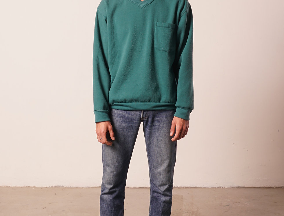 Green V neck sweater