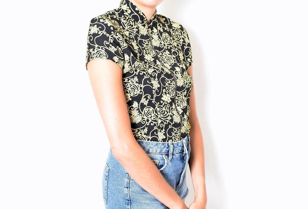 Mao collar shortsleeved shirt