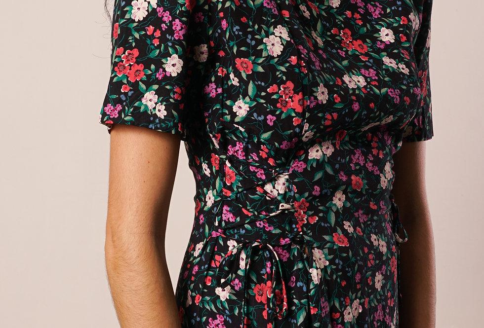 Padded floral mini dress