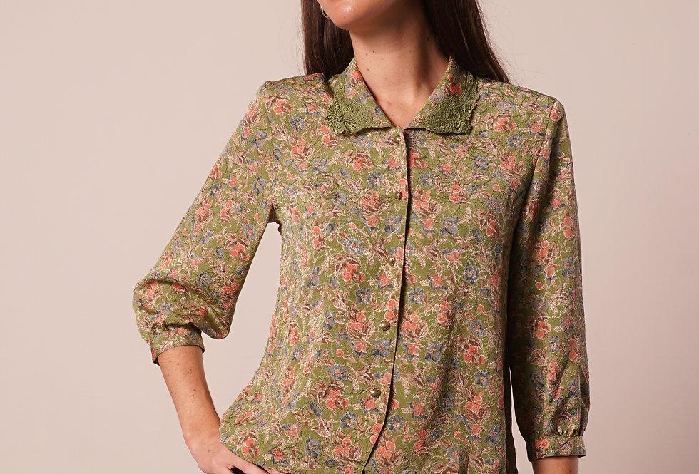 Green floral shirt