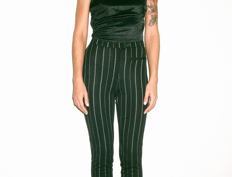 black&white striped skinny pants