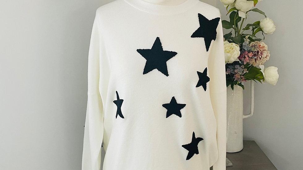 Winter White, Black Star Jumper