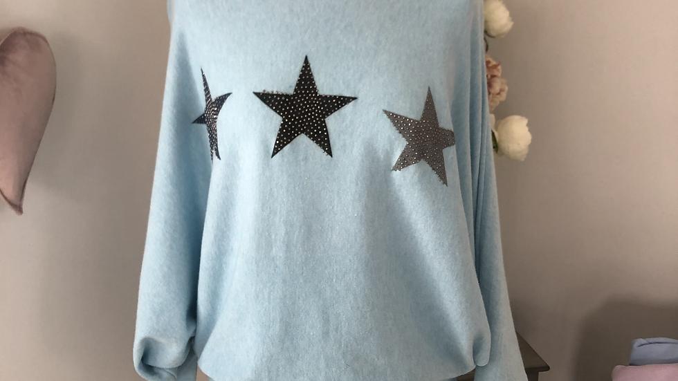 Slash neck glitter star jumper in sky blue