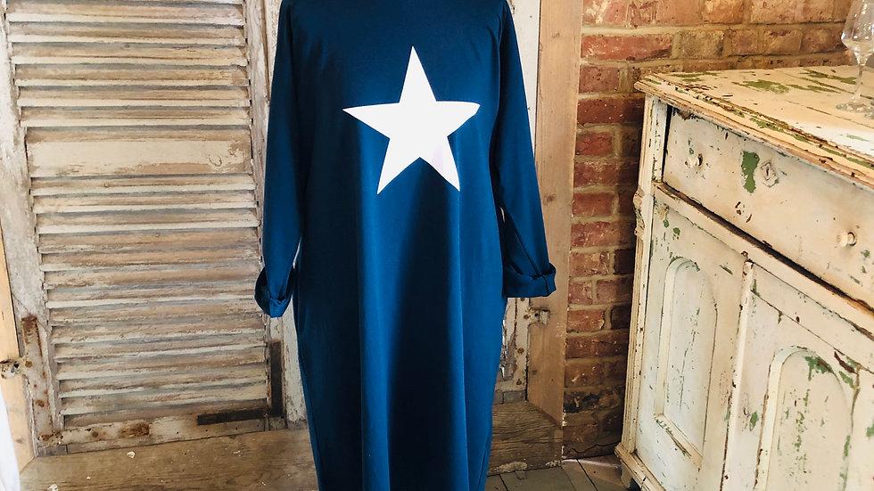 Blue Jersey Star Dress