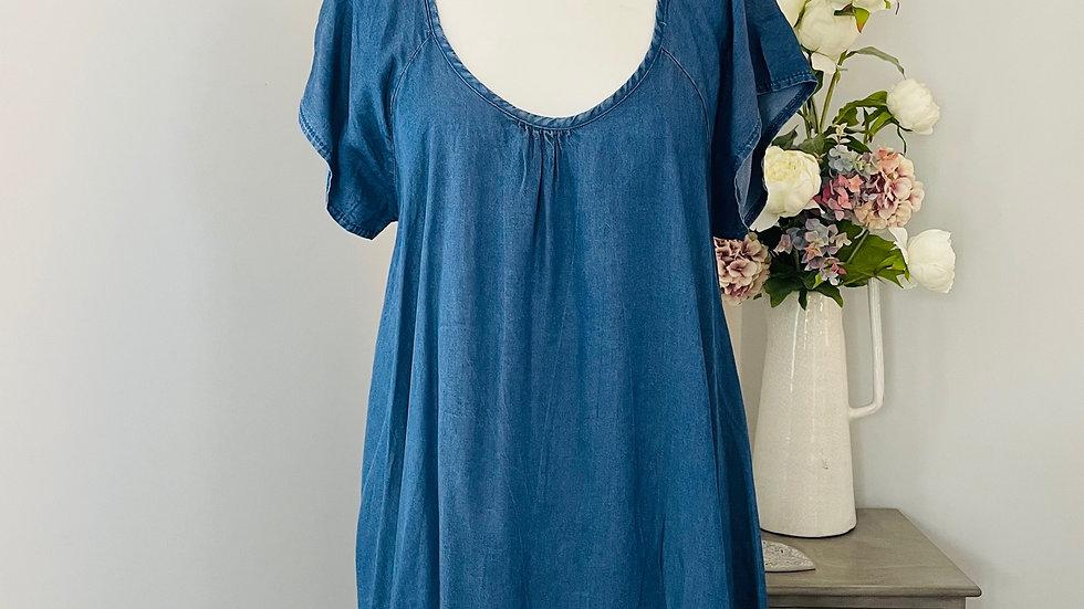 Denim Blue Scoop Neck Frill Hem Short Sleeved Dress