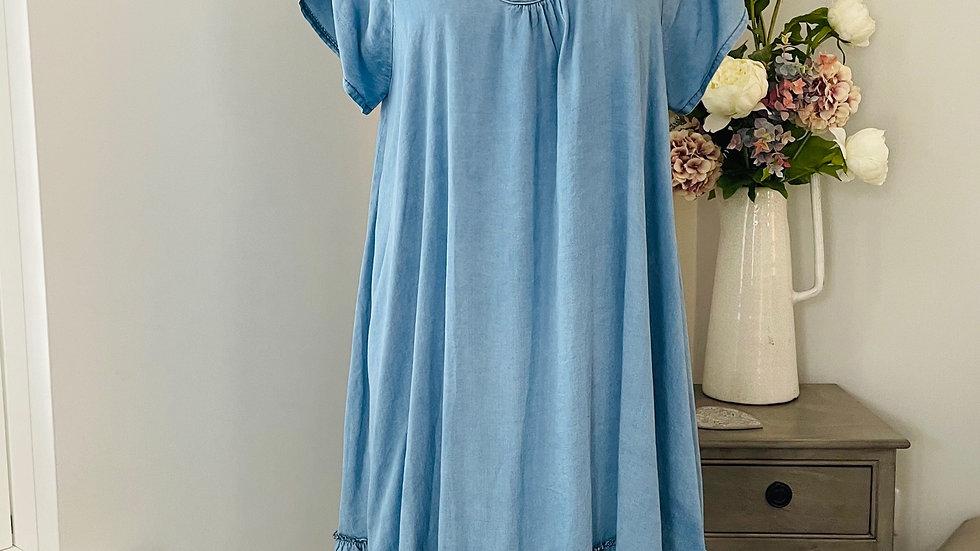 Sky Blue Scoop Neck Frill Hem Short Sleeved Dress