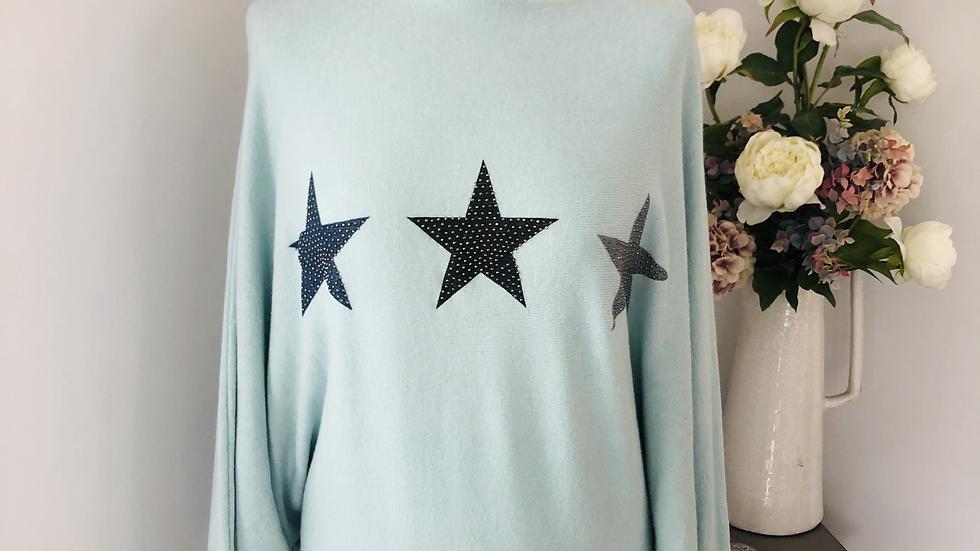 Slash neck glitter star jumper in Mint