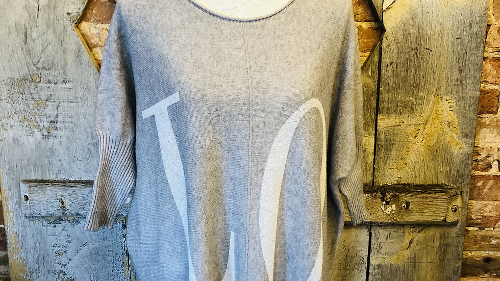 Love 3/4 length sleeve jumper in grey