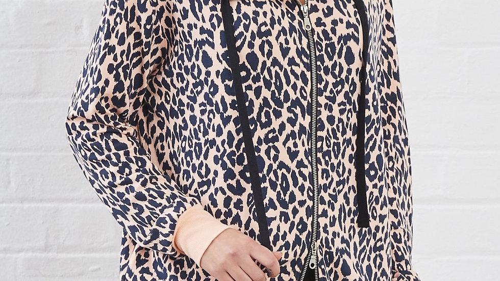 Khloe Animal Print Hooded Sweat Jacket
