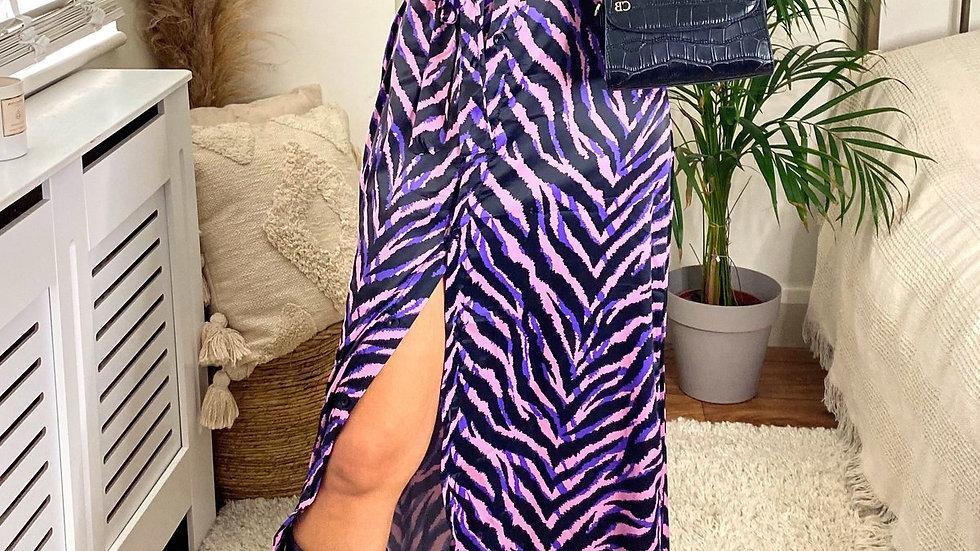 Wrap Maxi Shirt Dress in Purple Zebra