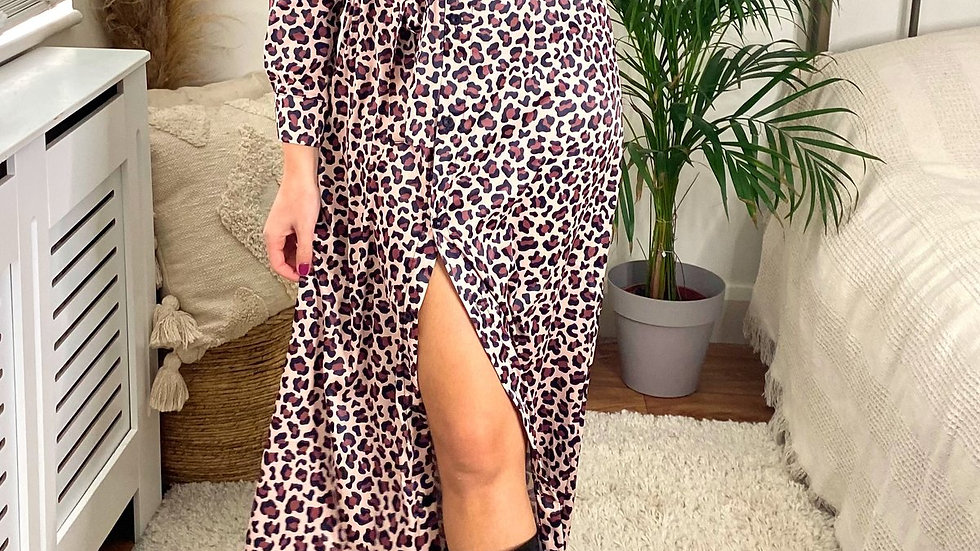 Wrap Maxi Shirt Dress in Brown Leopard