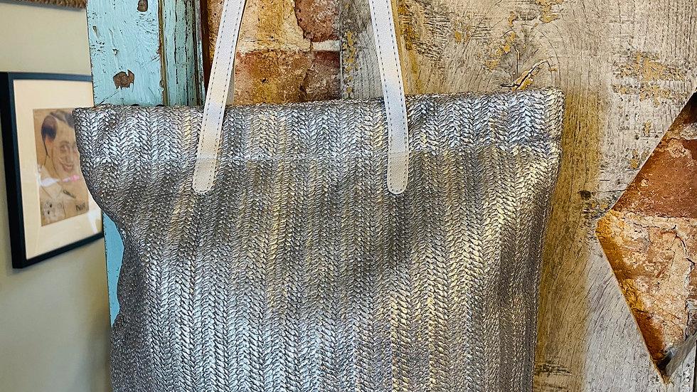 Silver Rattan Tote Bag